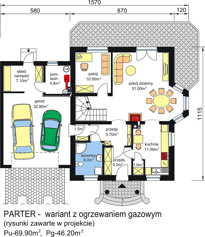 Gotowy Projekt Domu Bw 23 Garaż 2 Stanowiskowy średnie Domy 120